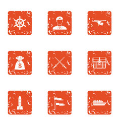 Military money icons set grunge style vector