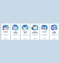 mobile app onboarding screens digital marketing vector image