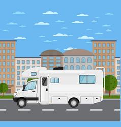 Modern camper van in urban landscape vector