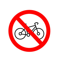 no bicycle sign prohibited parking icon forbidden vector image