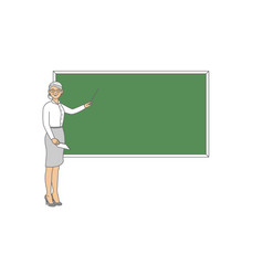 old female teacher on lesson at blackboard in vector image