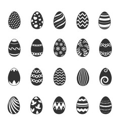 Paschal egg icons easter eggs with flowers vector