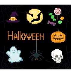 Pixel Halloween icons vector image