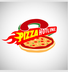 pizza hot line fast delivery logo sign symbol icon vector image