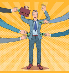 Pop art worried businessman with hands up vector