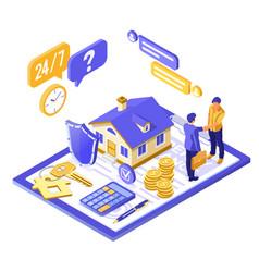 propery house insurance isometric vector image