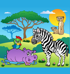 Savannah scenery with animals 4 vector