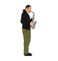 Saxophone player music man play wind instrument vector