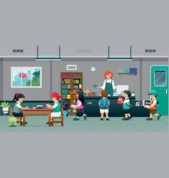 school library vector image