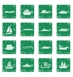 Sea transport icons set grunge vector