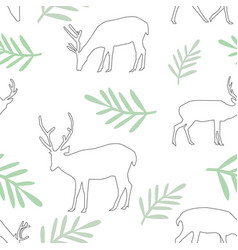 seamless pattern different deer and leaves vector image