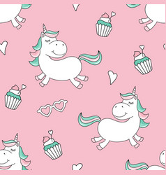 seamless pattern with magical unicorn and cupcakes vector image
