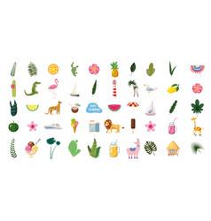 set cute trendy summer icons food drinks vector image