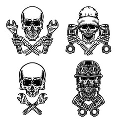 set motorcycle skull vector image