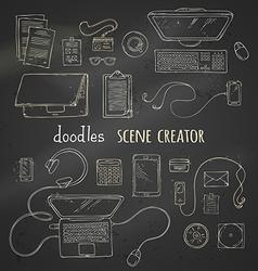 Set of chalk scene creator elements on blackboard vector