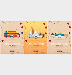 Set of christmas travel posters to china india vector