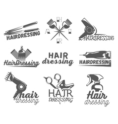 Set of hair salon labels in vintage style vector