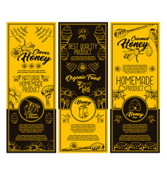 Set of isolated stickers with honeybee and honey vector