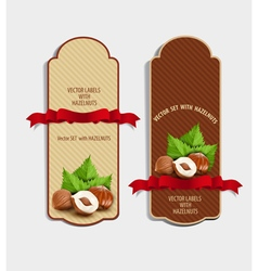 set of vertical labels with hazelnuts vector image