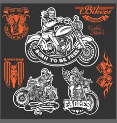 Set vintage motorcycle t-shirt prints emblems vector
