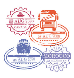 Ship and bus travel stamps of canada and morocco vector