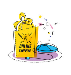 shopping bag with buy online concept vector image