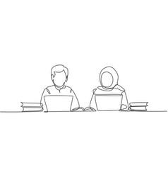 Single one line drawing arabian couple studying vector