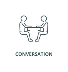 Sitting men conversation line icon linear vector