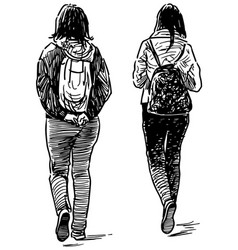 Sketch casual students girls walking together vector