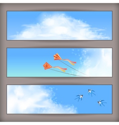Sky banners white clouds flying kites swallows vector image