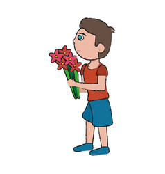 son giving flowers vector image