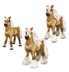 Stages growing brown horse with a white mane vector