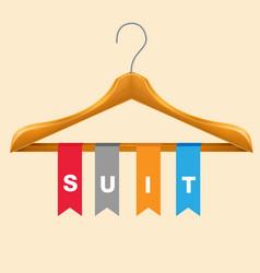 suit clothes hanger suit colorful ribbon backgroun vector image