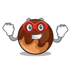 super hero chocolate donut character cartoon vector image