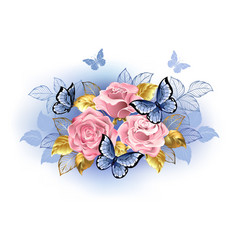 three pink roses with butterflies vector image