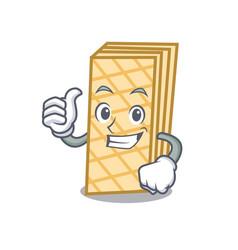 Thumbs up waffle character cartoon style vector