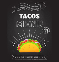 traditional mexican fast food meal tacos menu vector image