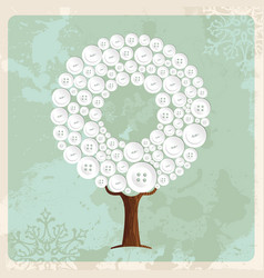 tree made of fashion buttons decoration vector image