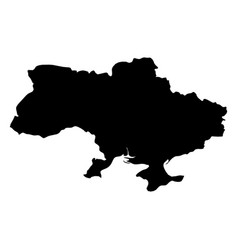 ukraine - solid black silhouette map of country vector image