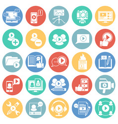 Video blog icons set on color circles white vector