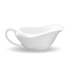 White ceramic sauceboat for sauce 3d realistic vector