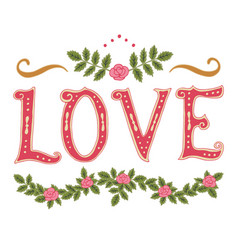 Word love and decor vector