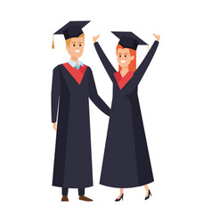 Young couple students graduated celebrating vector
