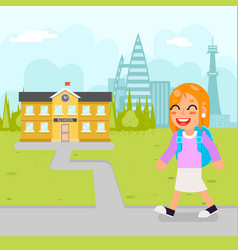girl school kid pupil education building student vector image vector image