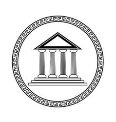 Greek Black Silhouette Temple vector image
