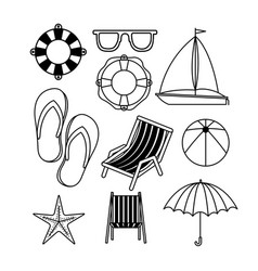 Monochrome set of icons of vacations beach vector