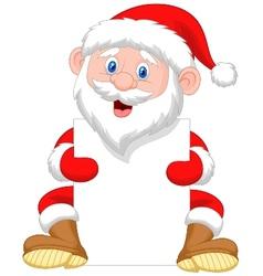Santa Clause cartoon holding blank sign vector image vector image
