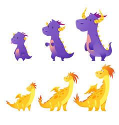 set of cute dragon vector image
