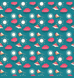 sun with clouds and flying kites seamless pattern vector image vector image