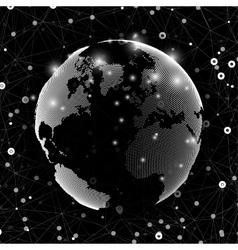 World globe global network Molecule structure vector image vector image